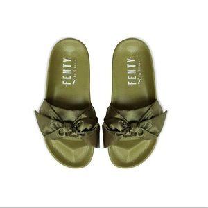 Olive Rihanna Fenty Puma Bow Slides